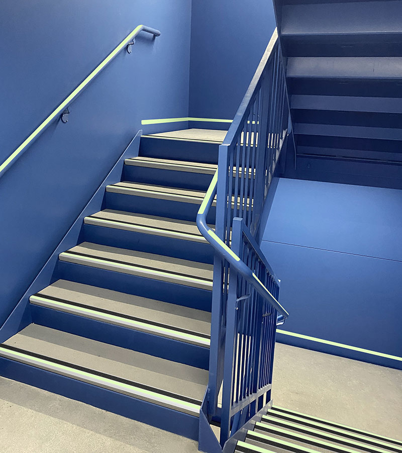 Precast Concrete Stair Treads Installed on a Metal Stair